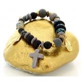 Bracelet bohème chic perles verre bois B2