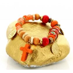 Bracelet bohème chic perles verre bois B3