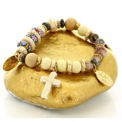 Bracelet bohème chic perles verre bois B4