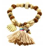 Bracelet bohème chic perles verre bois B5