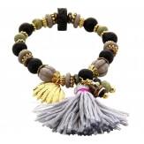 Bracelet bohème chic perles verre bois pompons B8