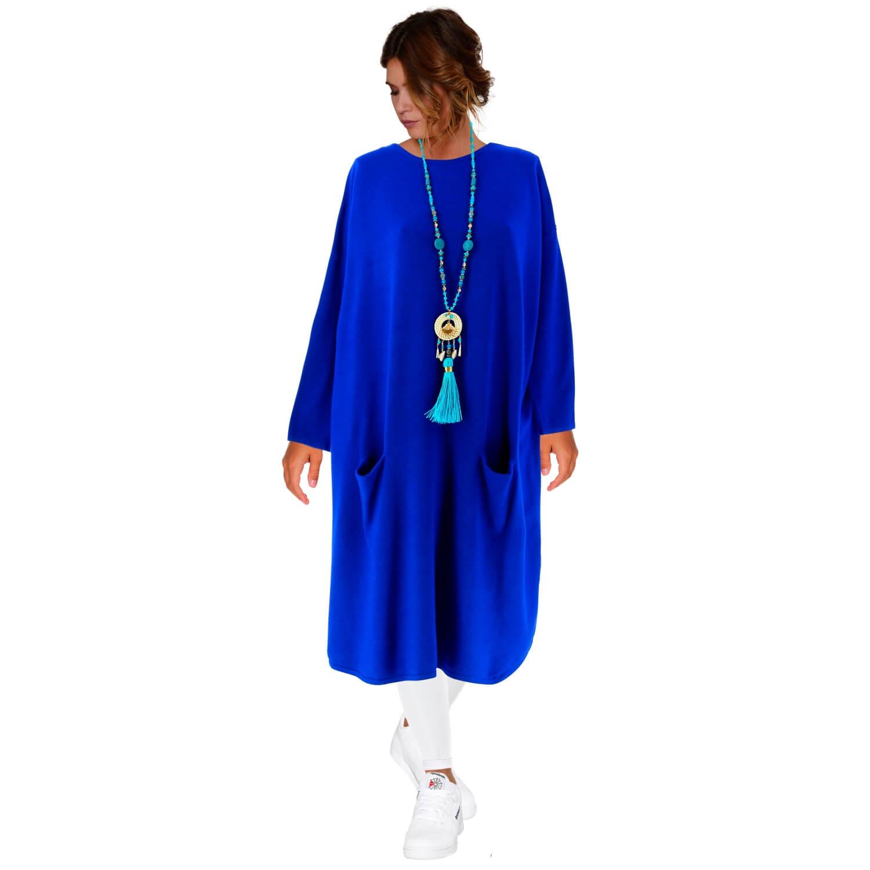 026061ae85e Robe pull longue femme grande taille bleu royal TAILA