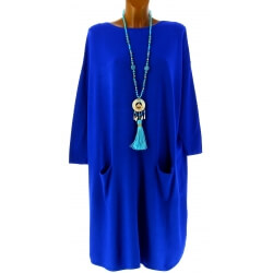 Robe pull longue femme grande taille bleu royal TAILA