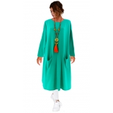 Robe pull longue femme grande taille vert d 'eau TAILA