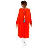 Robe pull longue femme grande taille orange TAILA