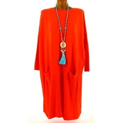 Robe pull longue femme grande taille orange TAILA