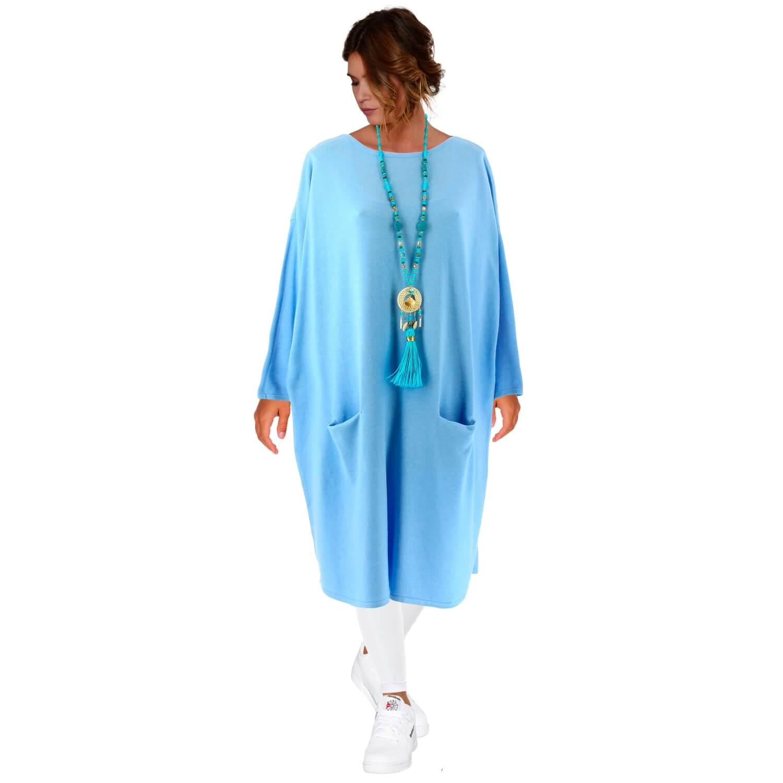 4d116af5095 Robe pull longue femme grande taille bleu ciel TAILA