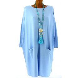 Robe pull longue femme grande taille bleu ciel TAILA