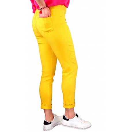 Jean femme grande taille lycra jegging jaune CANDY