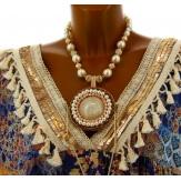 Collier couture création perles bohème chic C81