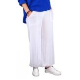 Pantalon fluide grande taille blanc DELTA