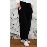 Pantalon fluide grande taille noir DELTA