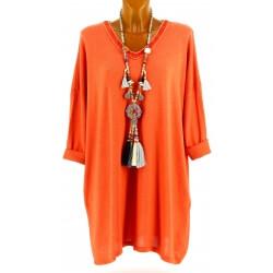 Tunique longue grande taille bohème orange ROMY cd3750f0458