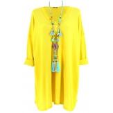 Tunique longue grande taille bohème jaune ROMY