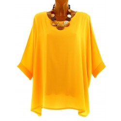 Tunique grande taille ample chic bohème jaune EVELYNE