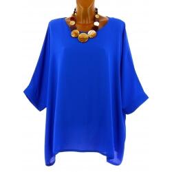 Tunique grande taille ample chic bohème bleu royal EVELYNE