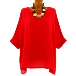 Tunique grande taille ample chic bohème rouge EVELYNE