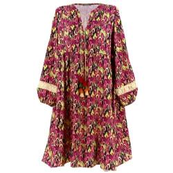 Robe grande taille bohème ethnique dentelle rose fushia ROSANA