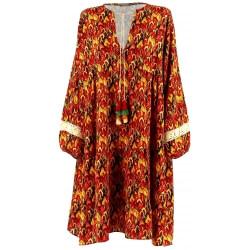 Robe grande taille bohème ethnique dentelle brique ROSANA