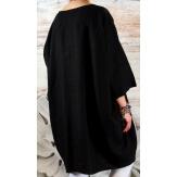 Robe grande taille lin bohème noir COLETTE