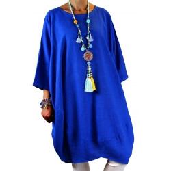 Robe grande taille lin bohème bleu royal COLETTE