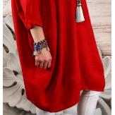 Robe grande taille lin bohème rouge COLETTE