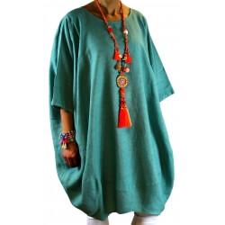 Robe grande taille lin bohème vert COLETTE