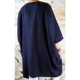 Robe grande taille lin bohème bleu marine COLETTE