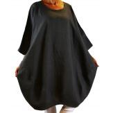 Robe grande taille lin bohème gris foncé COLETTE