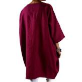 Robe grande taille lin bohème bordeaux COLETTE