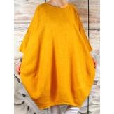 Robe grande taille lin bohème jaune COLETTE