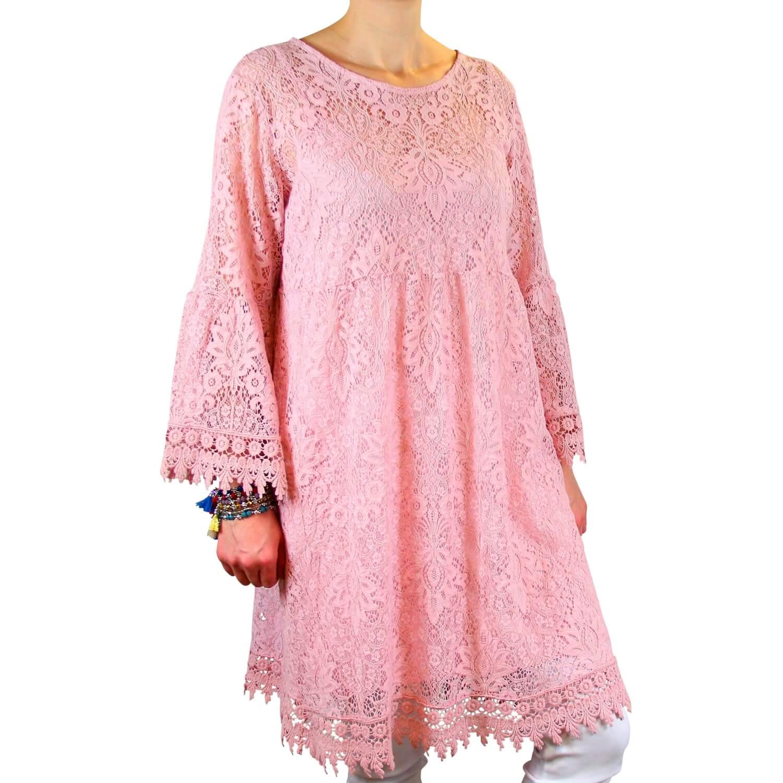 cf5c5474a5e89c Robe tunique grande taille dentelle bohème rose LUNA