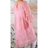 Robe tunique grande taille dentelle bohème rose LUNA