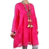 Robe tunique grande taille dentelle bohème fushia LUNA