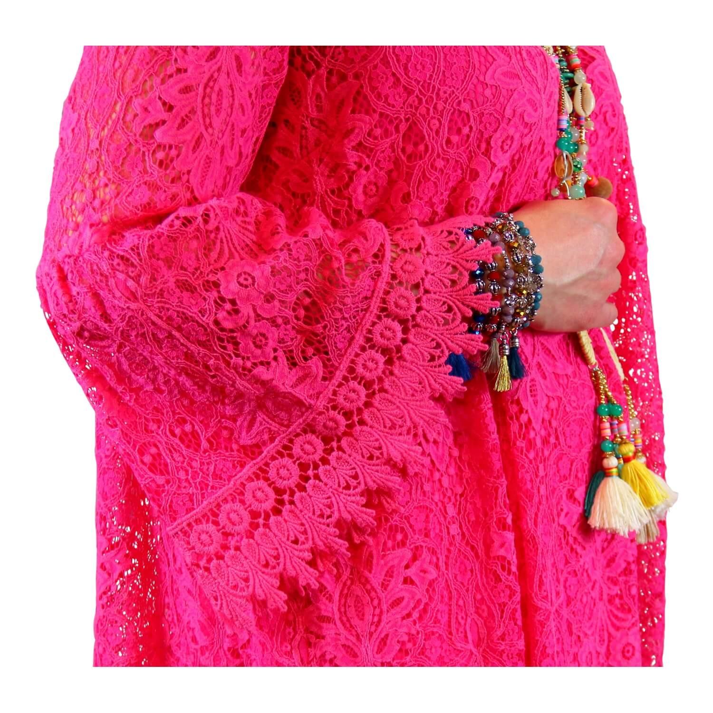 a9e803ab07d059 Robe tunique grande taille dentelle bohème fushia LUNA