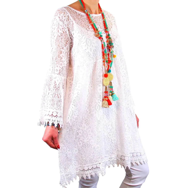 dc8ecce39dcbb4 Robe tunique grande taille dentelle bohème blanc LUNA