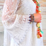 Robe tunique grande taille dentelle bohème blanc LUNA
