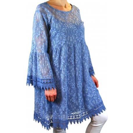 Robe tunique grande taille dentelle bohème bleu jean LUNA