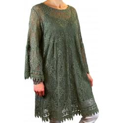 Robe tunique grande taille dentelle bohème kaki LUNA