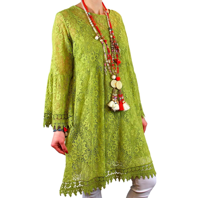 06bee5e217af2a Robe tunique grande taille dentelle bohème vert anis LUNA
