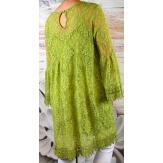 Robe tunique grande taille dentelle bohème vert anis LUNA