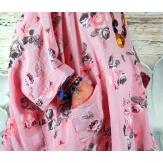 Tunique longue grande taille été rose PIANA