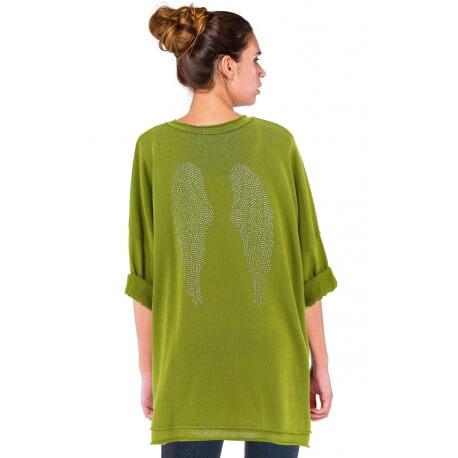 Tunique grande taille bohème strass vert anis AILES
