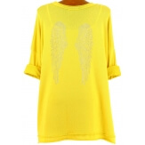 Tunique grande taille bohème strass jaune AILES