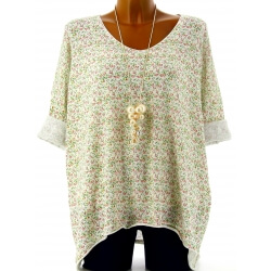 Tunique grande taille t-shirt coton blanc LIBERTY