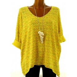 Tunique grande taille t-shirt coton jaune LIBERTY