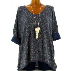 Tunique grande taille t-shirt coton bleu jean LIBERTY