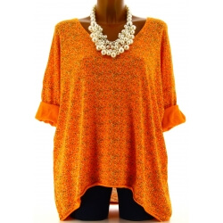 Tunique grande taille t-shirt coton orange LIBERTY