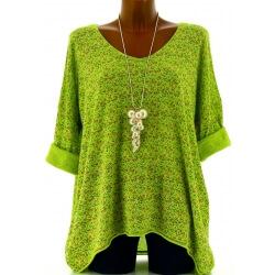 Tunique grande taille t-shirt coton vert pomme LIBERTY