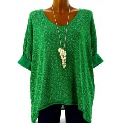 Tunique grande taille t-shirt coton vert LIBERTY
